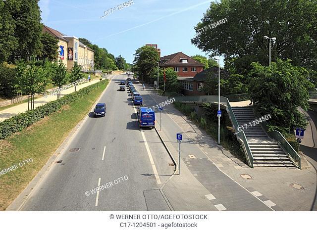 Germany, Kiel, Kiel Fjord, Baltic Sea, Schleswig-Holstein, art gallery, museum, Seehof, restaurant and cafe, Duesternbrooker Weg, traffic road, car traffic