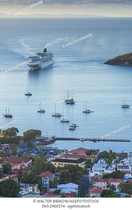 U. S. Virgin Islands, St. Thomas, Charlotte Amalie, elevated harbor view with cruiseship, dawn