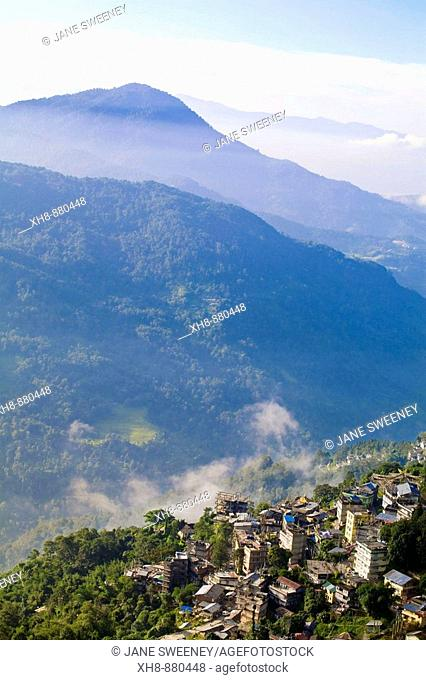 India, Sikkim, Gangtok, View of city from Ganesh Tok viewpoint