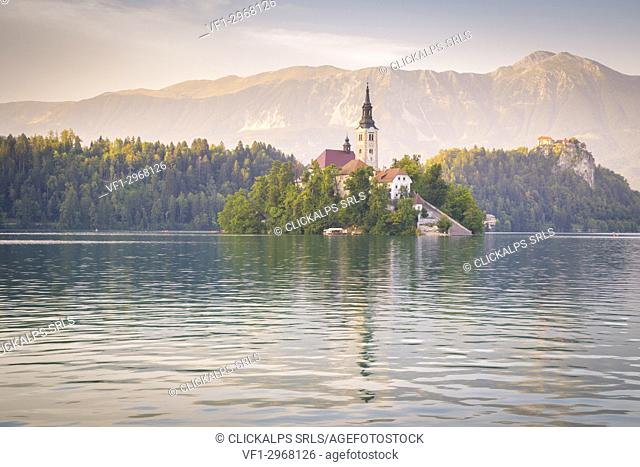 Bled Island and Lake Bled. Bled, Upper Carniolan region, Slovenia