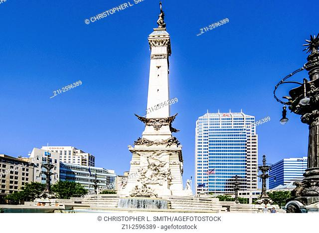 The Soldiers and Sailors monument in Monument Circle, downtown Indianapolis