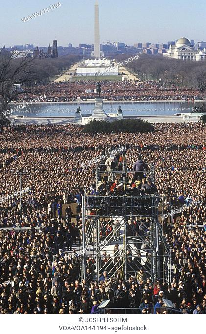 Camera stands and crowd on Bill Clinton's Inauguration Day January 20, 1993 in Washington, DC