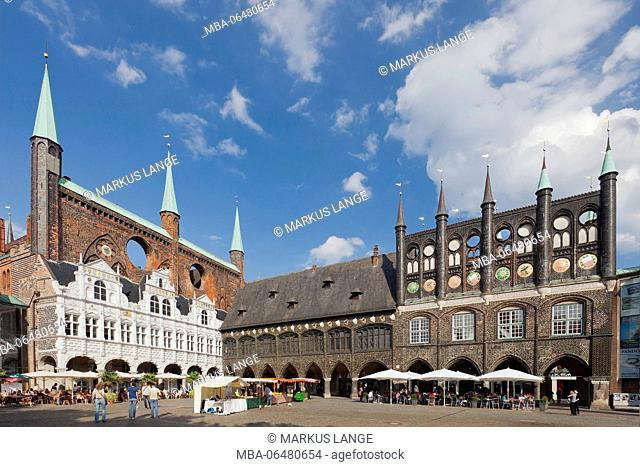 City hall on the marketplace of Lübeck, Schleswig Holstein, Germany