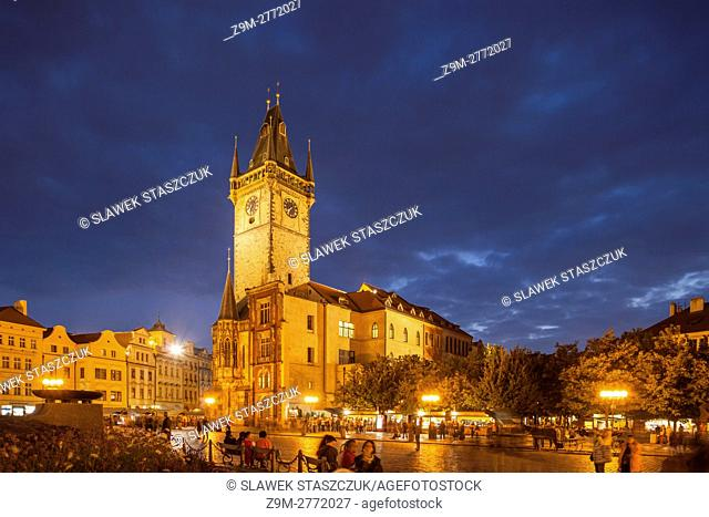 Evening at the old town square in Prague, Czech Republic