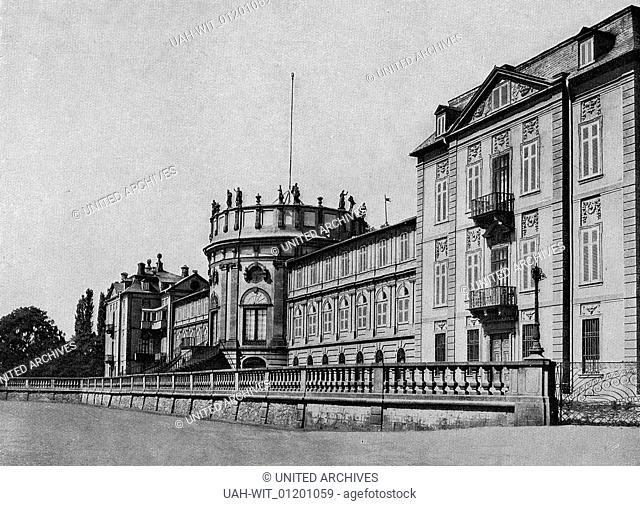 Das herzoglich nassauische Schloß zu Biebrich. Der westliche Pavillon, rechts, erbaut 1699 - 1702, der östliche 1707. Der Mittelbau 1711 durch M
