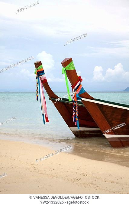 Longtail boats at Ko Ngai, Thailand. November 2010