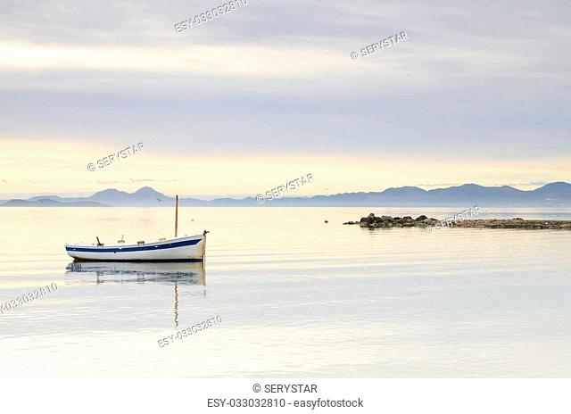 Lonely boat in Mar Menor, Spain