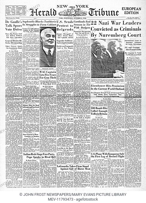 1946 New York Herald Tribune front page Nazi leaders sentenced to death