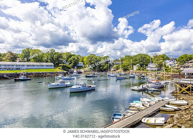 Boats in harbor at Perkins Cove in Ogunquit Maine in the United States