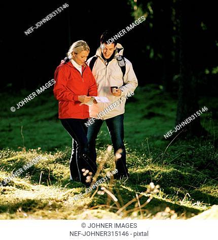Scandinavian couple in the forest reading a map, Kolmarden, Ostergotland, Sweden