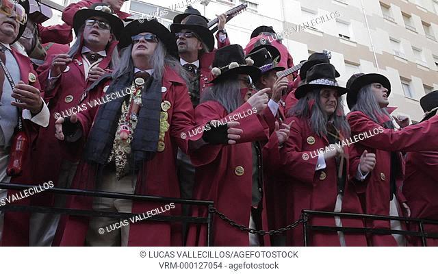 Carnival.Parade of choirs in Segunda Aguada Avenue .Cádiz, Andalusia, Spain