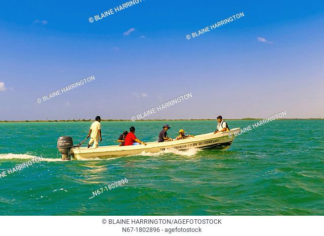 Boating in a ponga across the Sian Ka'an Biosphere Reserve, in Riviera Maya, Mexico, which is a small ecotourism and education center