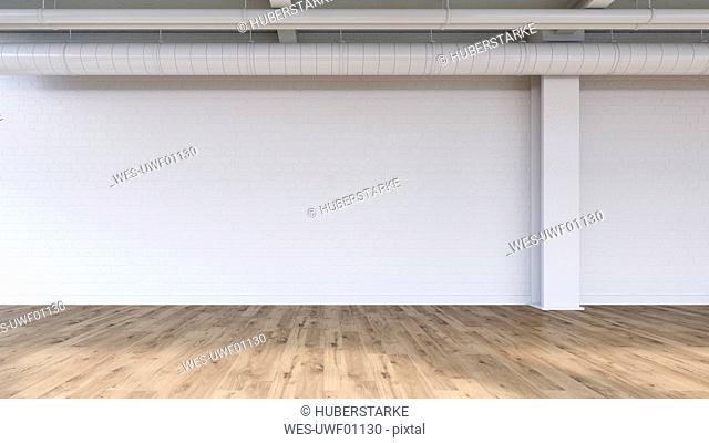 Wall and pipes in an empty loft, 3D Rendering