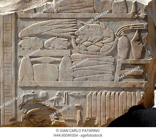 Karnak, Luxor, Egypt. Temple of Karnak sacred to god Amon: beautiful hieroglyphs of Sesostris I