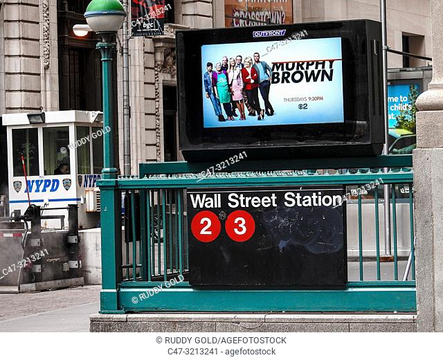 New York. New York City, Wall Street subway station at the Financial District
