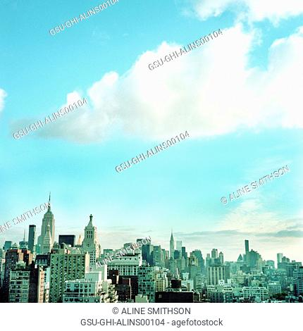 Midtown Manhattan Skyline with Blue Sky, New York City, USA