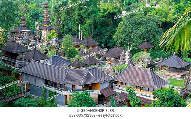 View from Above on a Temple Complex in Ubud, Bali