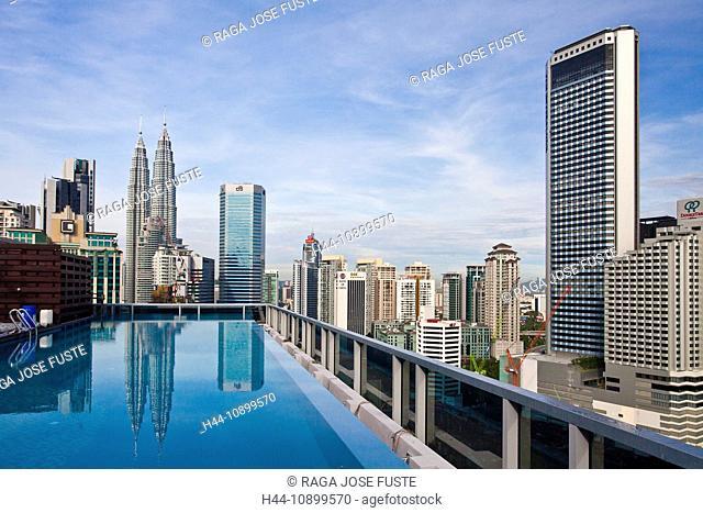 Malaysia, Asia, Kuala Lumpur, Golden Triangle District, Petronas Towers, blocks of flats, high-rise buildings, Skyline, golden triangle, building, construction