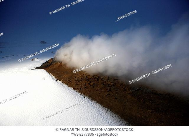 The Namaskard Volcanic area is characterized by boiling mud-bogs and solfatoras