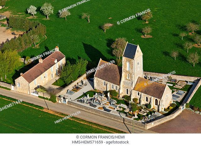 France, Calvados, Swiss Normandy, La Rue Gournay, La Ville hamlet aerial view