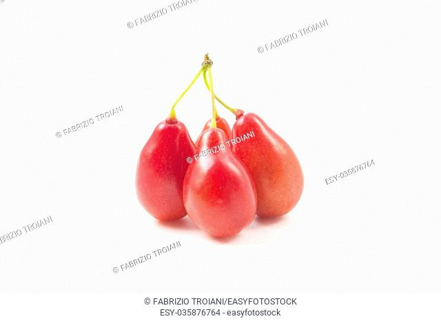 Cornelian cherry fruits on a white background
