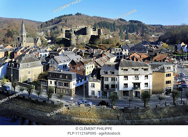 La Roche-en-Ardenne and medieval castle along the river Ourthe, Ardennes, Belgium