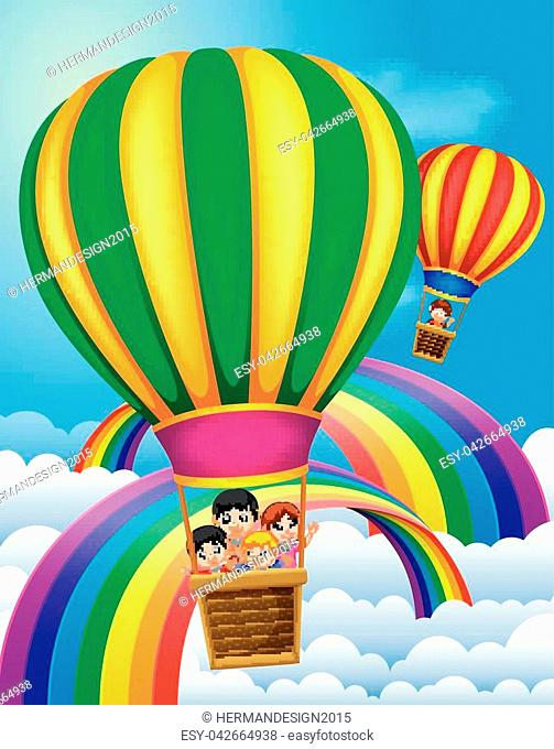 illustration of hot air balloons flying with happy kids and rainbow scene