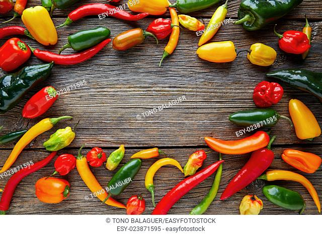 Mexican hot chili peppers colorful mix habanero poblano serrano jalapeno on wood