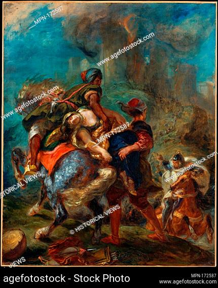 The Abduction of Rebecca. Artist: Eugène Delacroix (French, Charenton-Saint-Maurice 1798-1863 Paris); Date: 1846; Medium: Oil on canvas; Dimensions: 39 1/2 x 32...