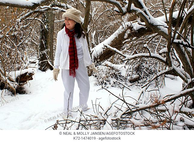 Woman enjoying being in the snow