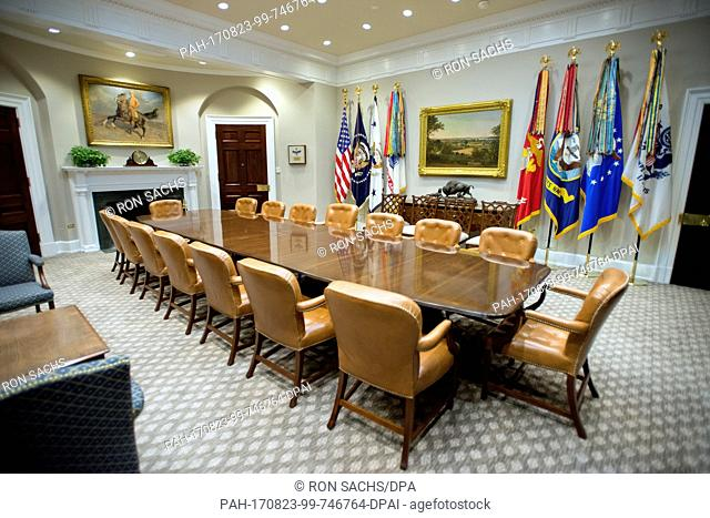 Very high resolution view of the newly renovated interior of the Roosevelt Room in the White House in Washington, DC on Tuesday, August 22, 2017