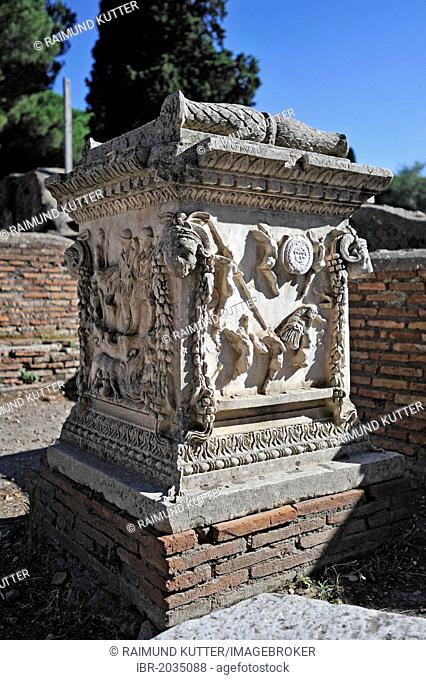Relief on the sacred altar of Romulus and Remus, Sacello dell 'Ara Tues Romolo e Remo, Ostia Antica archaeological site, ancient port city of Rome, Lazio, Italy