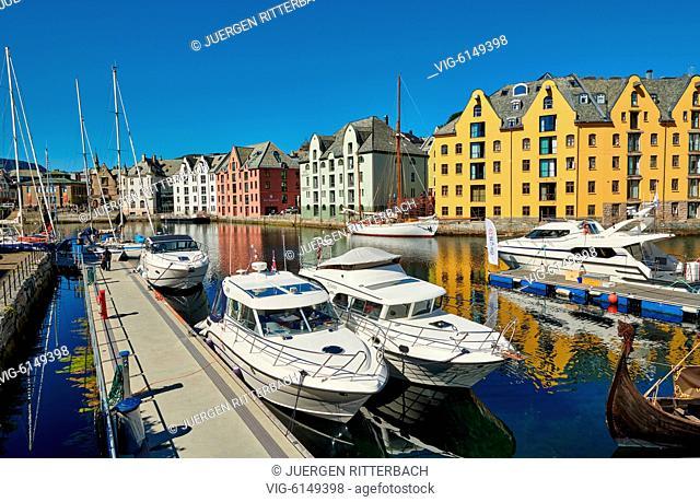 NORWAY, ÅLESUND, 30.06.2018, view of old harbor with historical Art Nouveau buildings, Ålesund, Norway, Europe - Ålesund, Møre og Romsdal, Norway, 30/06/2018