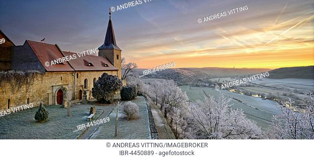 Zscheiplitz Abbey covered in hoarfrost at sunrise, with view of the Unstrut Valley, winter, Freyburg, Saxony-Anhalt, Germany