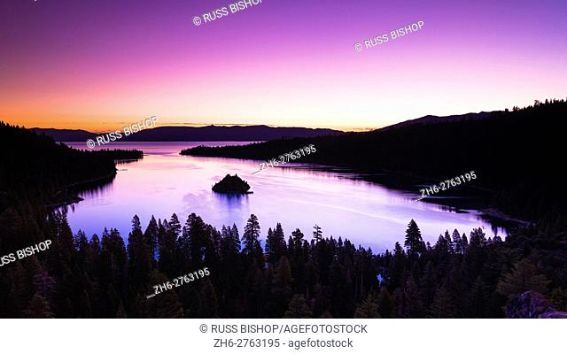 Dawn light over Emerald Bay on Lake Tahoe, Emerald Bay State Park, California USA
