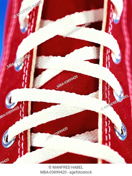 Sneakers, red, lacing, close-up, footwear, shoes, athletically, sneakers, gym shoes, linen-shoes, shoelaces, shoelaces, knows, detail, trendy, studio