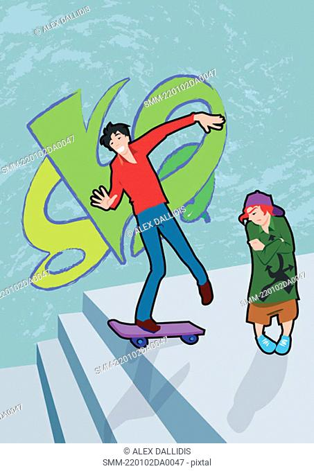 Teenager skating in front of jealous boy