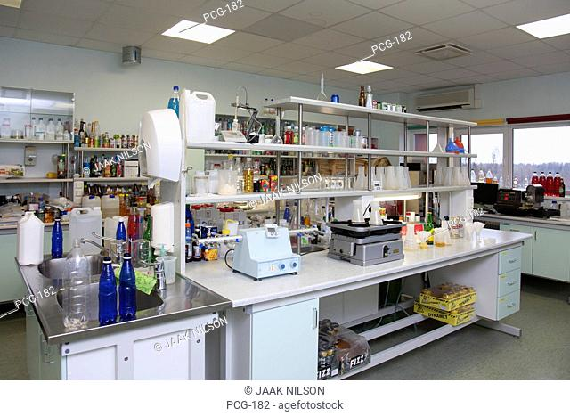 A le Coq Brewery in Tartu, Estonia. Laboratory, with scientific equipment to test and analyse the product. Testing lab. Beverage production