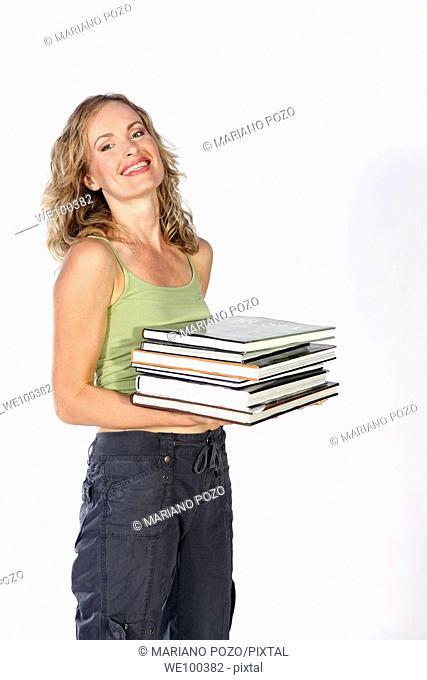 Woman holding books