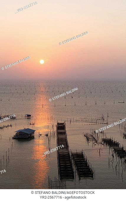 Sunset over Songkhla lake in southern Thailand