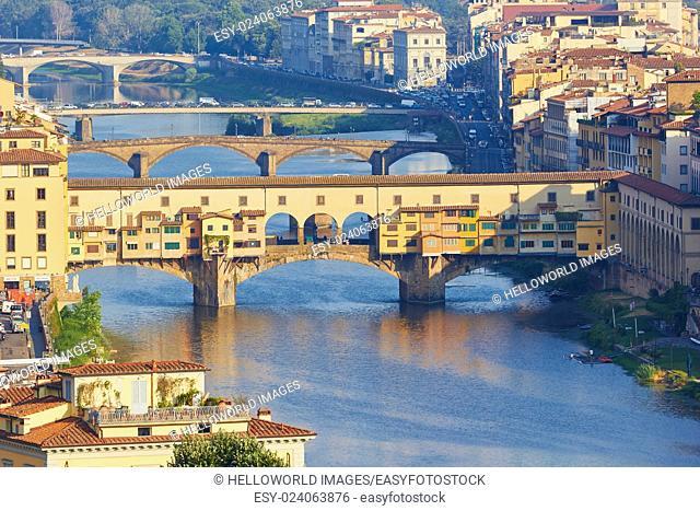 Ponte Vecchio bridge and river Arno, Florence, Tuscany, Italy, Europe