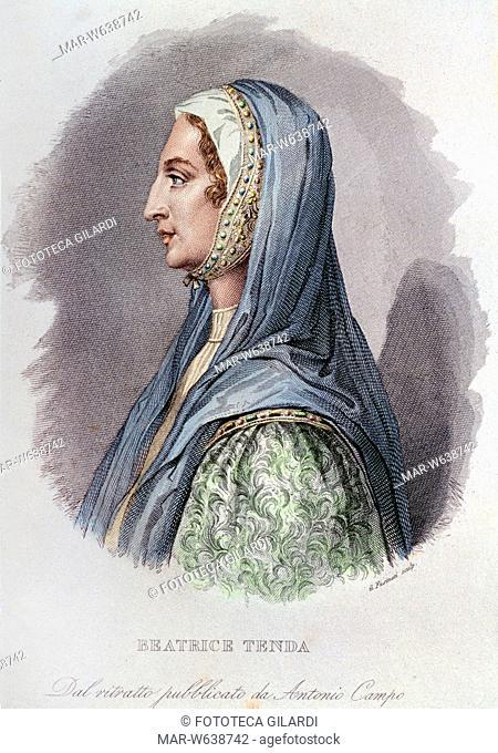 Beatrice CANE (1372 - 1418). Figlia di Ruggero Cane, lontano parente del suo primo marito Facino Cane, che seguì con battagliera partecipazione nelle sue...