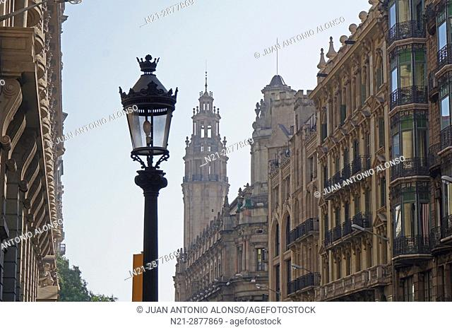 Via Layetana. In the background we can see a partial view of the Post Office building. Barcelona, Catalonia, Spain, Europe