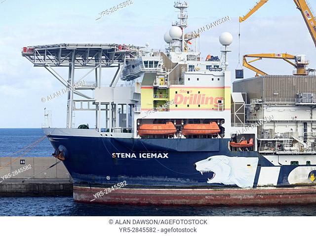 Stena Icemax Drillship in Las Palmas port. Gran Canaria, Canary Islands, Spain. . Stena IceMAX is the worldâ. . s first dynamically positioned