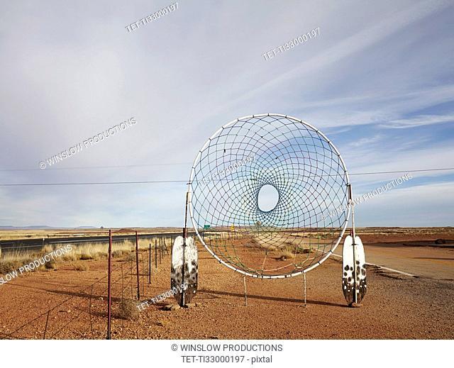 Dream catcher in desert