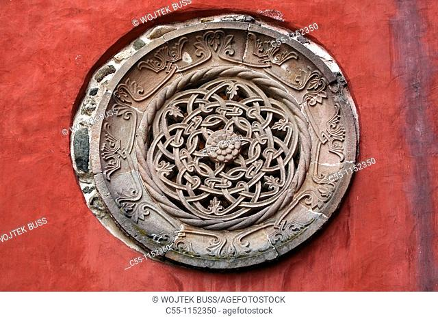 Serbia,Zica Monastery,early 12th century,first Serbian autonomous Archbishopric from 1218,Orthodox,christian,religious,exterior,outside,facade,colour,bas relief