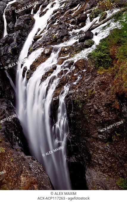 Aerial nature scenery of a waterfall at Englishman River Falls Provincial Park. Errington, Vancouver Island, BC, Canada