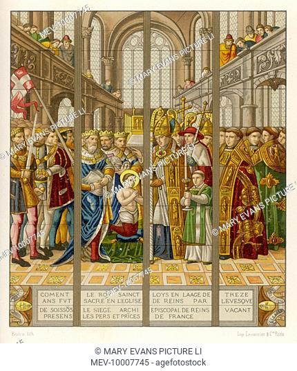 The sacre (consecration) of the 13-year old King Louis IX of France at Reims by the Bishop of Soissons