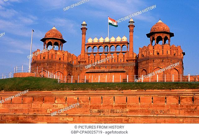 India: The Lahore Gate at the massive Red Fort, Old Delhi
