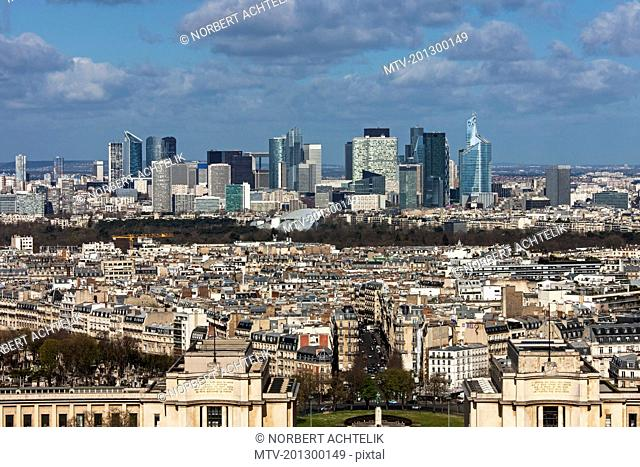 High angle view of city, Paris, France